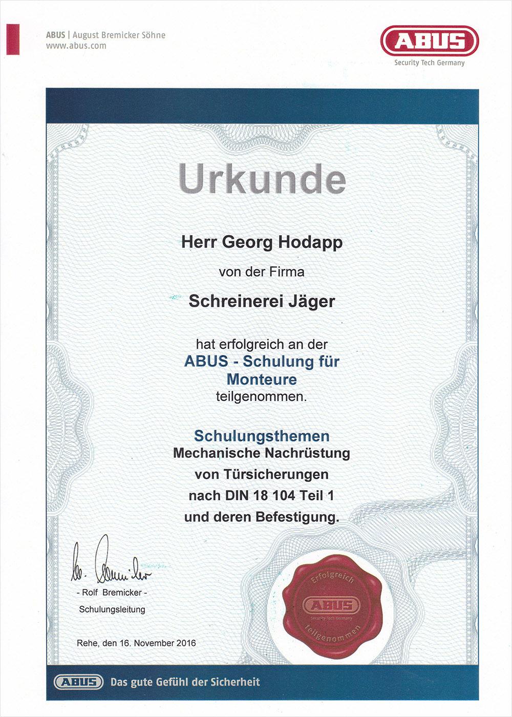 Schreinerei JÄGER Freiburg Urkunde