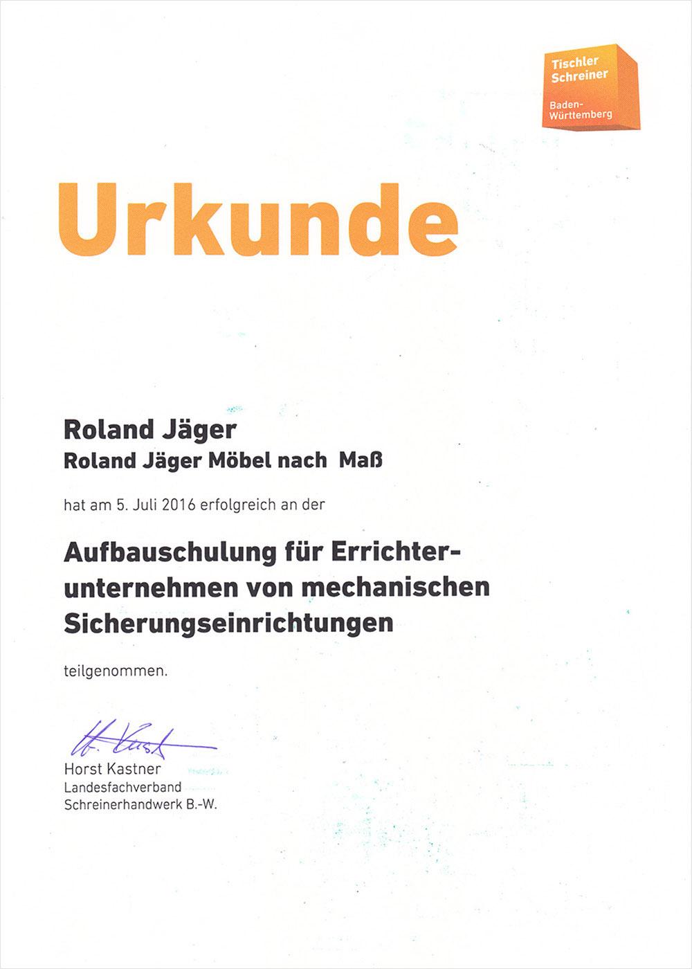 Urkunde Schreinerei JÄGER Freiburg