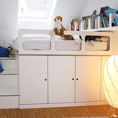 Kinderbett mit Stauraum, Birke MPX weiss